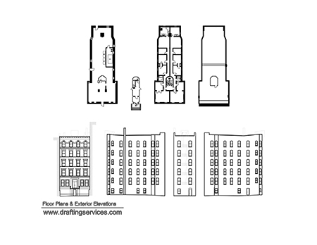 The floor plan and exterior elevation drawings.