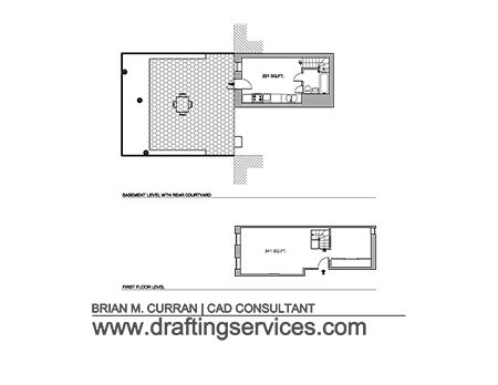 A project sample of floor plan survey drawings.